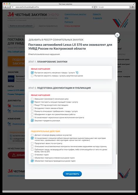 Создание сайта zachestnyezakupki - добавление в реестр