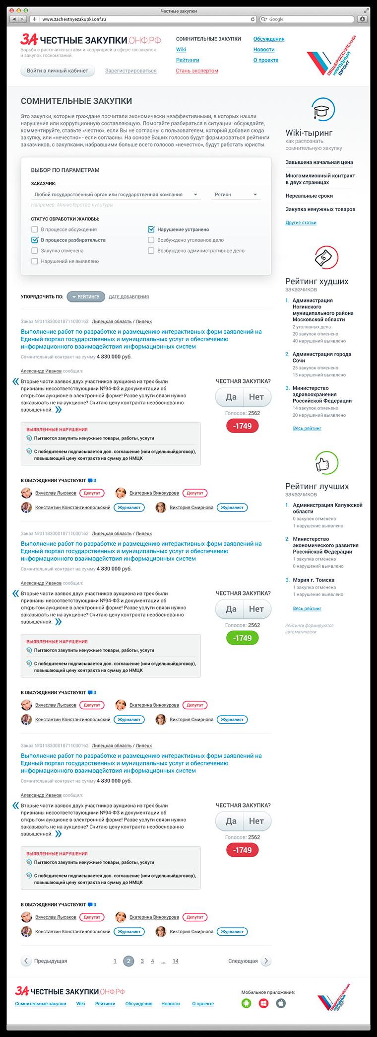 Создание сайта zachestnyezakupki - список сомнительных закупок