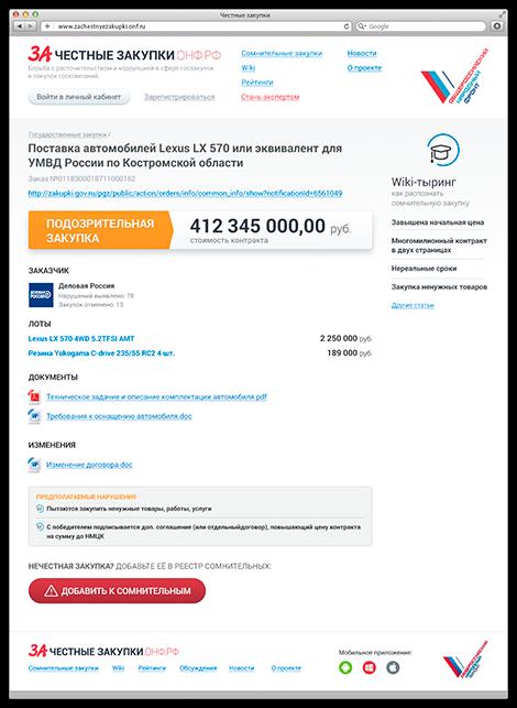 Создание сайта zachestnyezakupki - страница закупки